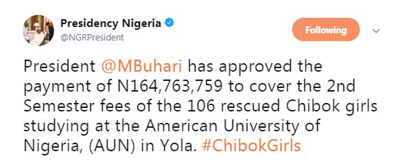 Buhari Approves N164.8million Fees For Rescued Chibok Girls Studying at American University of Nigeria (AUN) http://ift.tt/2BqrUgr