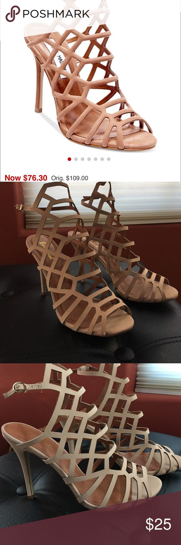 """Cute creme / beige strappy Steve Madden replica Worn only a few times. It's the exact replica of the Steve Madden strappy heels, the quality is just not as thick. It's a size """"9"""" but it fits like an 8-8.5!! Cute color , matches with everything. Steve Madden Shoes Heels"""