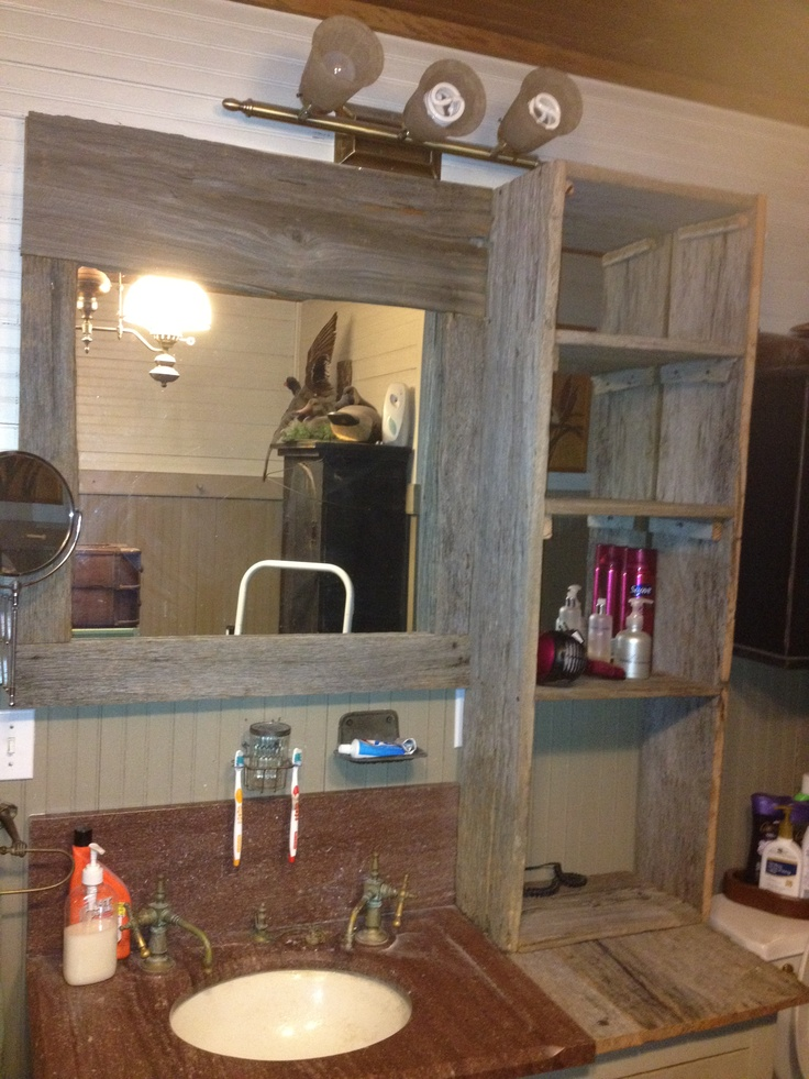 Bathroom Mirror Mirror Frame And Shelf Unit We Made From Reclaimed Wood The Projects Pinterest