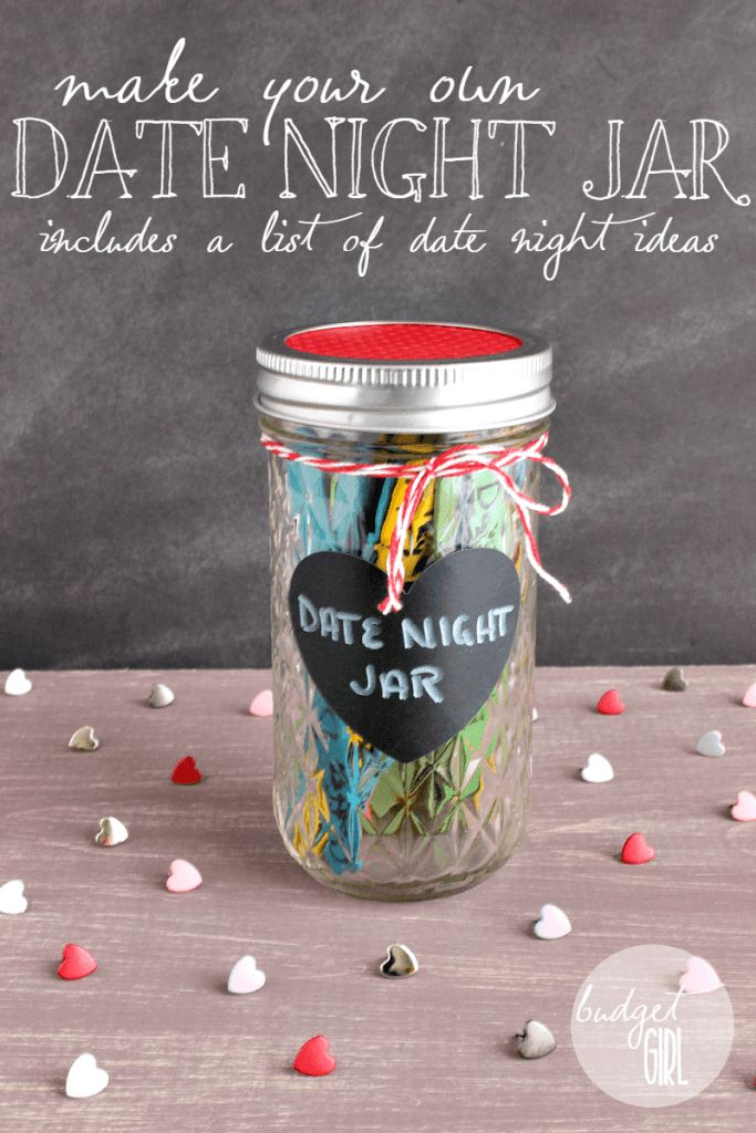 Date Night Jar --- Create a date night jar to add some excitement to your relationship! Bottom of the post has a list of date night ideas, ranging from expensive trips to free stay-at-home dates.