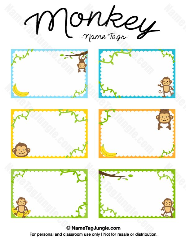 Free printable monkey name tags. The template can also be used for creating items like labels and place cards. Download the PDF at http://nametagjungle.com/name-tag/monkey/