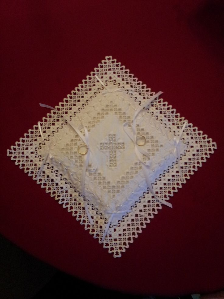 Hardanger Ring Bearer's Pillow by RuthsHardanger on Etsy https://www.etsy.com/listing/219888609/hardanger-ring-bearers-pillow