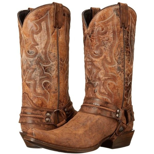Stetson Outlaw (Distressed Brown) Cowboy Boots ($200) ❤ liked on Polyvore featuring men's fashion, men's shoes, men's boots, mens long boots, mens distressed cowboy boots, mens western cowboy boots, mens cowboy boots and mens western boots