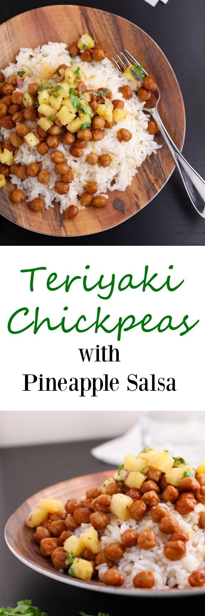 A really simple, delicious, and vegan recipe for teriyaki chickpeas. Serve over rice and top with pineapple salsa. It's a yummy and easy dinner. www.cookingismessy.com
