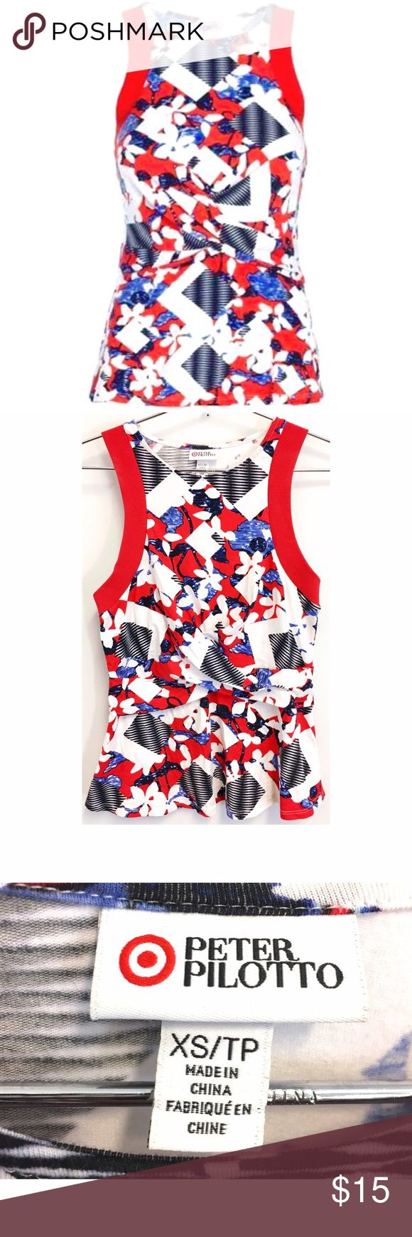 Peter Pilotto for Target Peplum Tank Peter Pilotto for Target red and white peplum tank. Super flattering and perfect for day or night! Peter Pilotto Tops Tank Tops