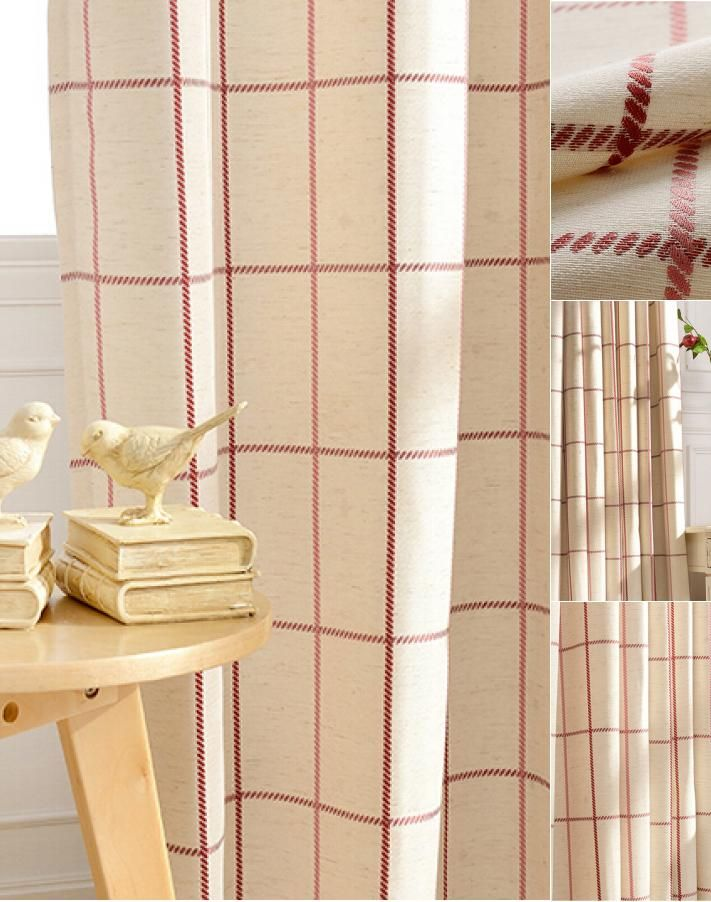 Refreshing Red/Beige Linen/Cotton Plaid Curtains