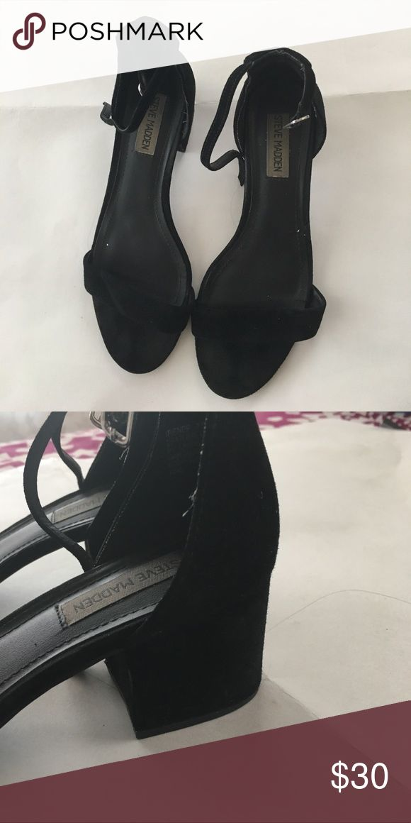 Steve Madden black heels Steve Madden  black heels. Used. Strap near the top with wrap around the ankle *USED* Steve Madden Shoes Heels
