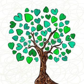 tree life: Giorno di San Valentino disegnati a mano albero amore fatta di cuori sfondo. Illustrazione vettoriale strati di facile manipolazione e la colorazione personalizzata. Vettoriali