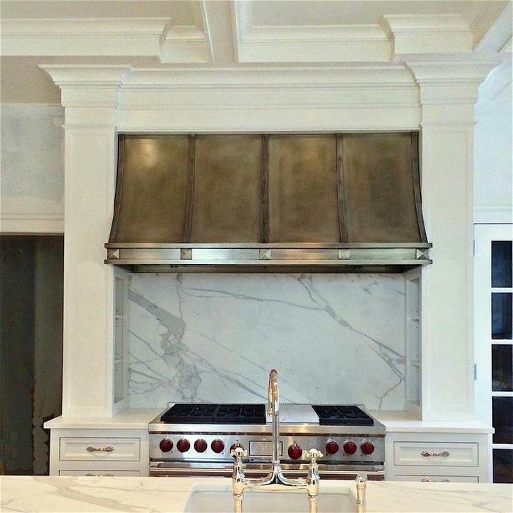 Kitchen Cabinets Memphis Tn: Nickel KItchen Hood With Marble Slab Backsplash