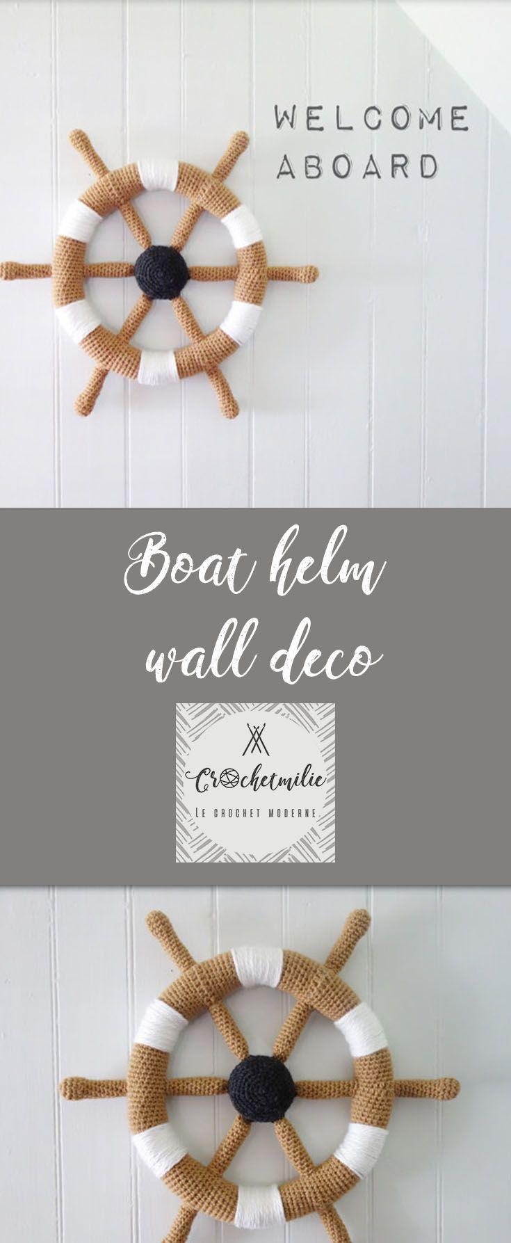 Nautical nursery decor : crochet boat helm for baby room