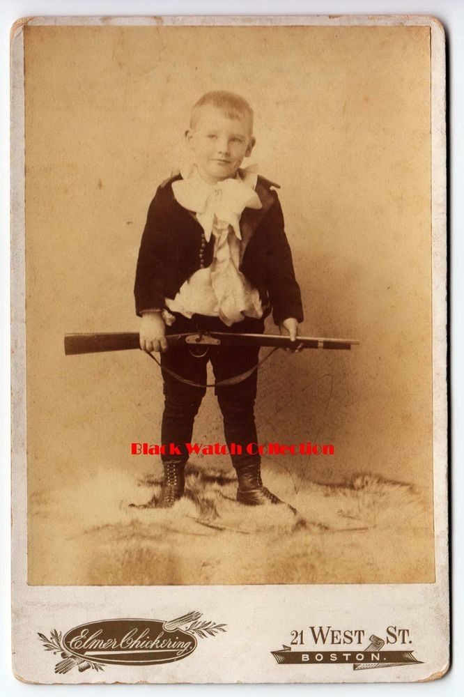 WONDERFUL BOSTON MASS PHOTOGRAPH OF A YOUNG BOY AND A TOY RIFLE