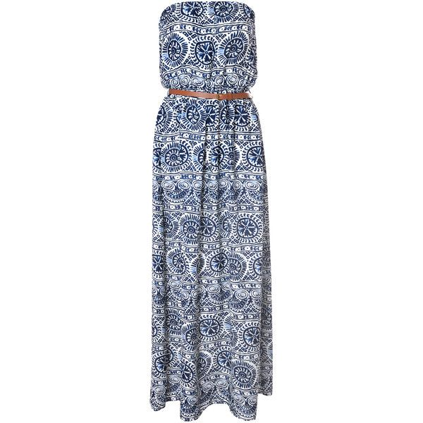 White And Navy Tribal Print Maxi Dress ($19) ❤ liked on Polyvore featuring dresses, blue, viscose dress, blue strapless dress, tribal dress, viscose maxi dress and rayon dress