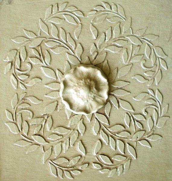 Medallón de yeso levantado vid y conjunto de molde de yeso
