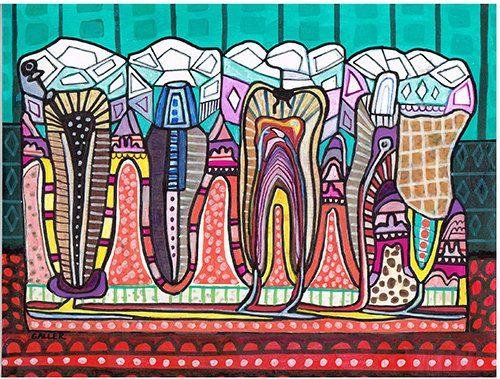 Original Dental Teeth Anatomy Painting by by HeatherGallerArt, $225.00