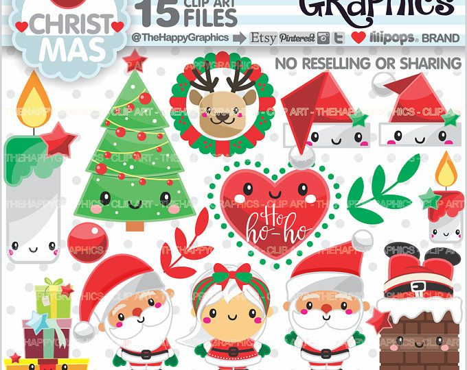 Christmas Clipart, Christmas Graphics, COMMERCIAL USE, Christmas Party, Planner Accessories, Winter Clipart, Santa Clipart