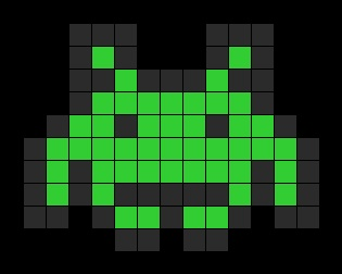 Super Space Invader Perler Bead Pattern | Bead Sprites | Characters Fuse Bead Patterns