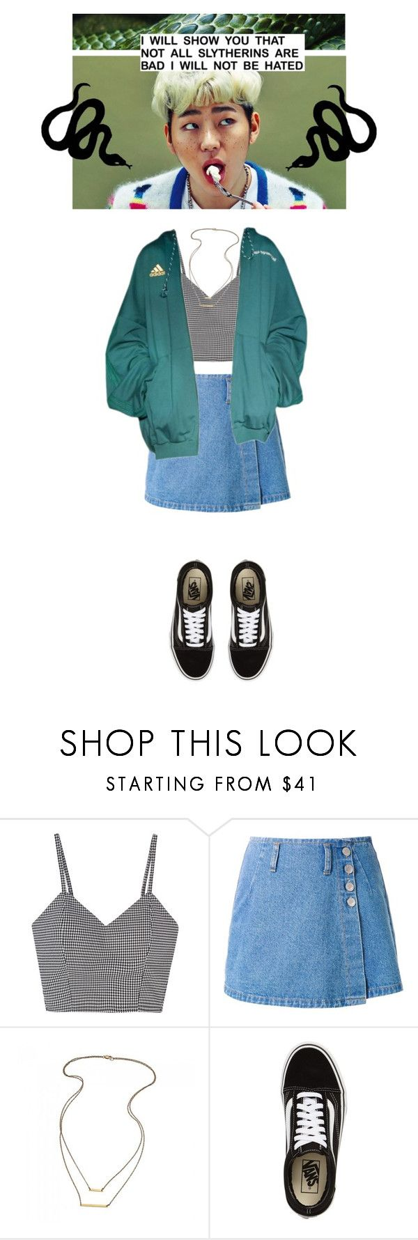 """* S L Y T H E R I N  Z I C O *"" by sydclair ❤ liked on Polyvore featuring UNIF, Gosha Rubchinskiy, Vans, harrypotter, slytherin, kpop, Zico and khiphop"