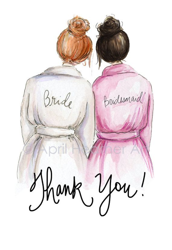 Thank you Bridesmaid PDF Red-head Bride and by aprilheatherart