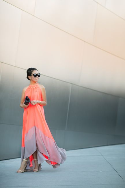 This bright chiffon dress defines a Californian summer.