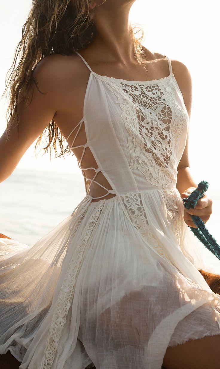 Crochet gauzy dress
