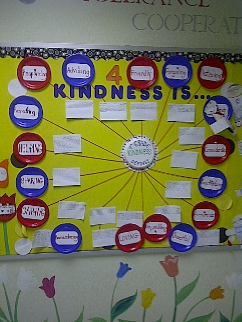 What Kindness is . . . with great descriptive words and 3x5 cards with proof of this in action.  Thanks Davie Elementary for sharing this with us!