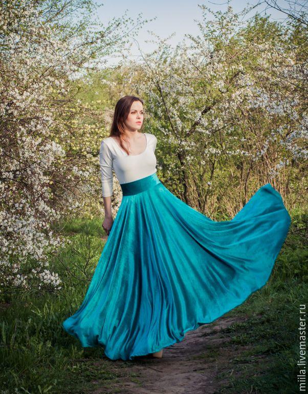 Купить Бархатная юбка солнце - тёмно-бирюзовый, юбка, юбка в пол, юбка длинная, бархат