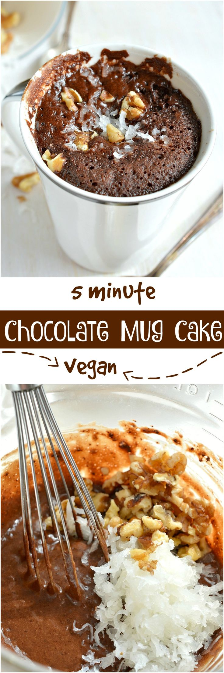 Craving chocolate and need a quick dessert fix? This Egg-Free, Dairy-Free German Chocolate Mug Cake Recipe is the solution! You read that right. No eggs. No dairy. And this vegan chocolate cake is made in 5 minutes! #ad #nutchello @lovemysilk