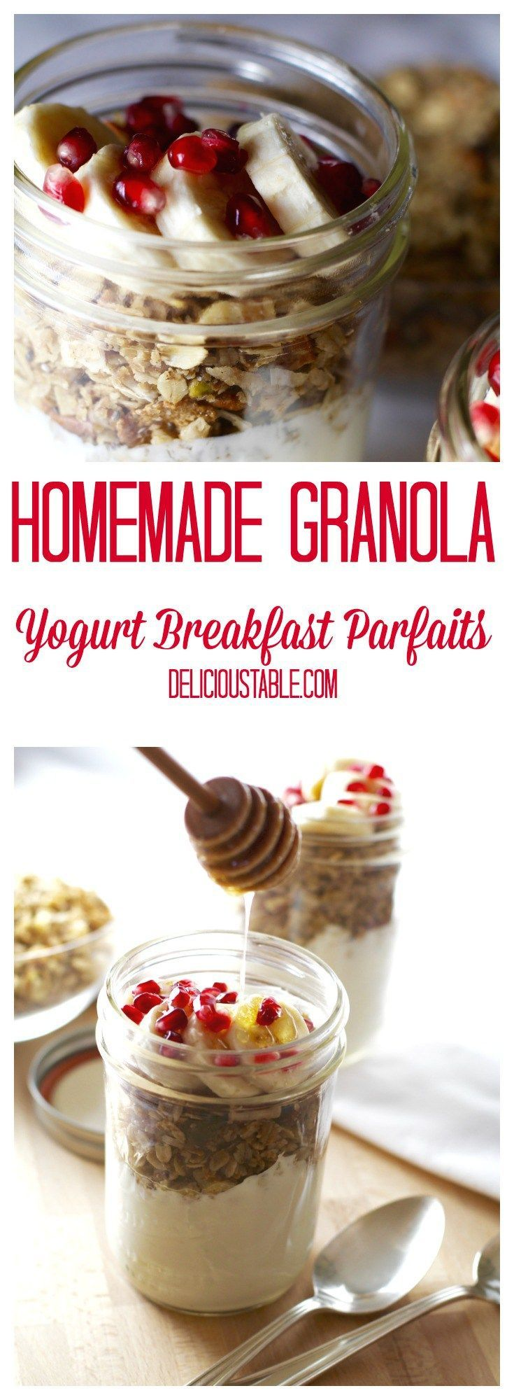 Easy Homemade Granola keeps well in the fridge. Parfaits in mason jars, are a great make ahead breakfast with any yogurt, fruit, and a drizzle of honey!