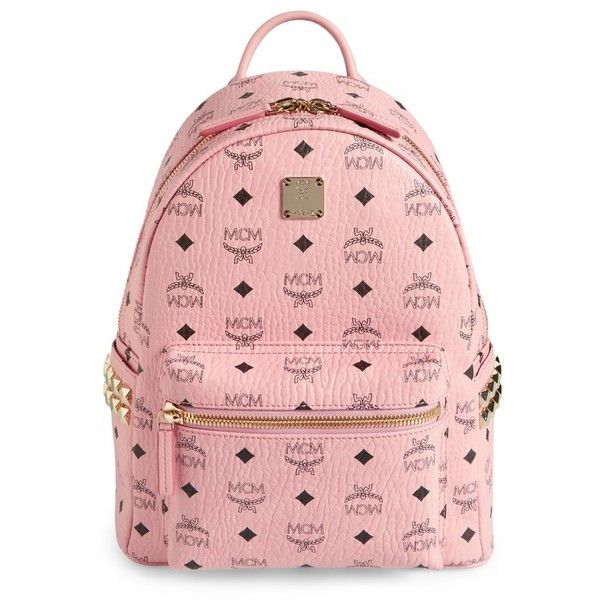 Women's Mcm Small Stark Side Stud Coated Canvas Backpack ($720) ❤ liked on Polyvore featuring bags, backpacks, soft pink, mcm backpack, red bag, studded backpacks, pocket backpack and ipad backpack