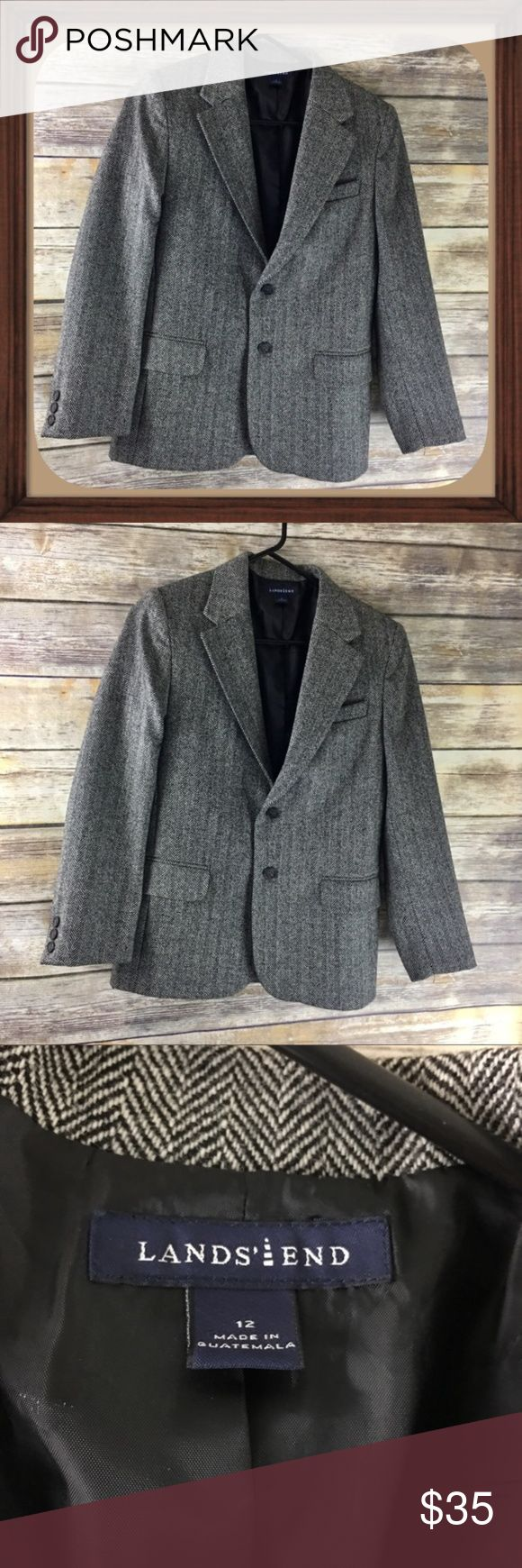 Lands End Black Design Boys Wool Blazer size 12 Boys black design wool blazer. Size 12. In excellent used condition. 25 inches long. 21 inch sleeves. 15 inches arm pit to arm pit Lands' End Jackets & Coats Blazers