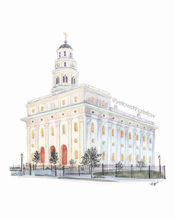 Beautiful illustration of The Church of Jesus Christ of Latter Day Saints Temple in Nauvoo, Illinois.
