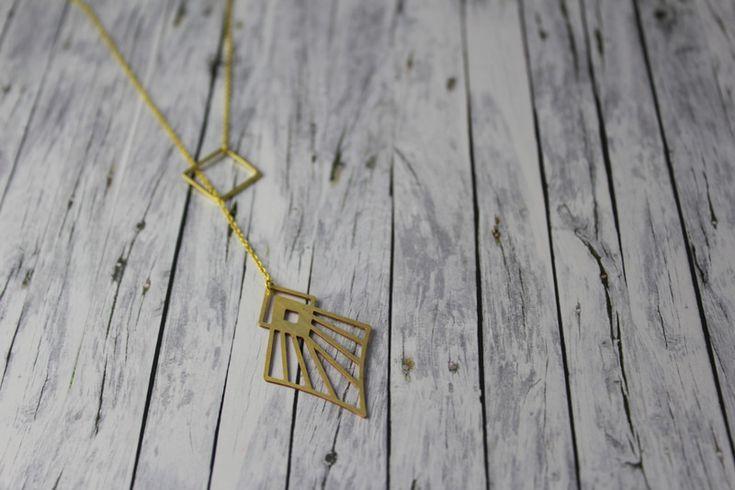 Ketten lang - lange Kette geometrischer Schmuck Zwillinge gold  - ein Designerstück von buntezeiten bei DaWanda