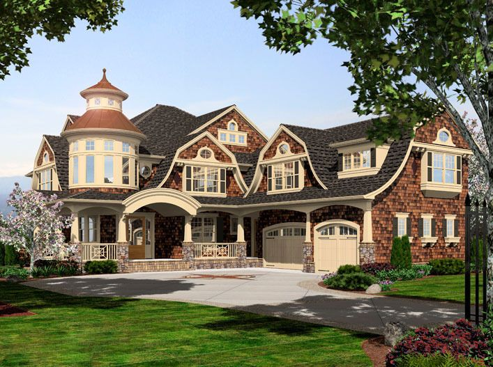 Plan 23395jd Grand Shingle Style House Plan With Turreted Loft House Floor Plans House Plans Cape Cod House Plans