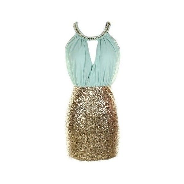 Mint Gold Sequin Colorblock Dress (190 BRL) ❤ liked on Polyvore featuring dresses, gold dresses, gold cocktail dress, mint dress, yellow gold dress and brown sequin dress