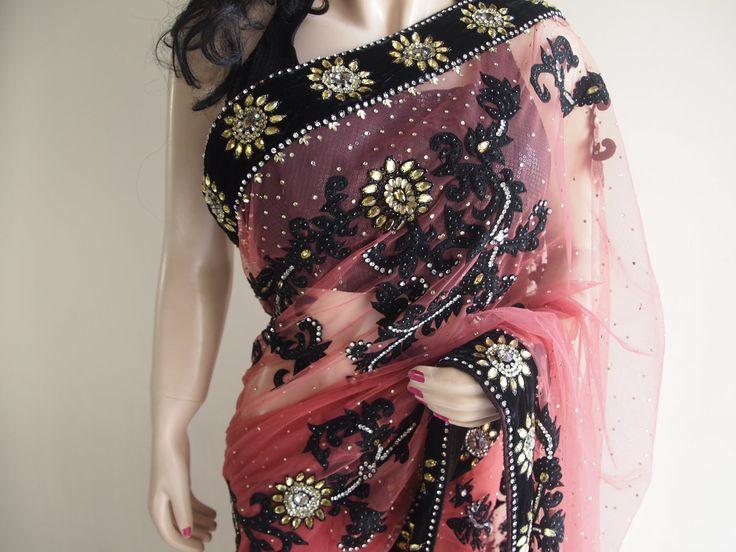 Gajari Net Saree With Velvet Border & Extensive Embroidery