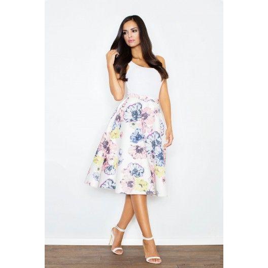 Dámska biela sukňa s farebnými kvietkami - fashionday.eu