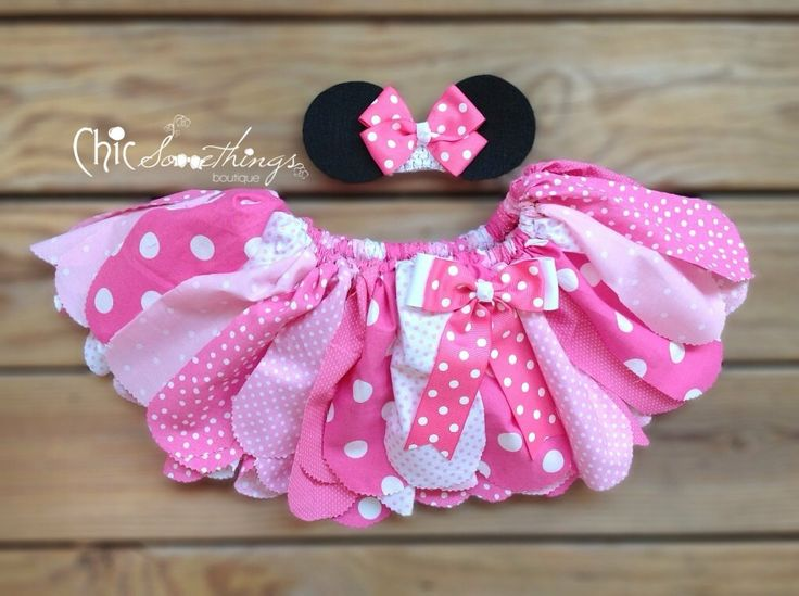 Fabric Tutu TEA WITH  Minnie mouse birthday pink by ChicSomethings, $34.00