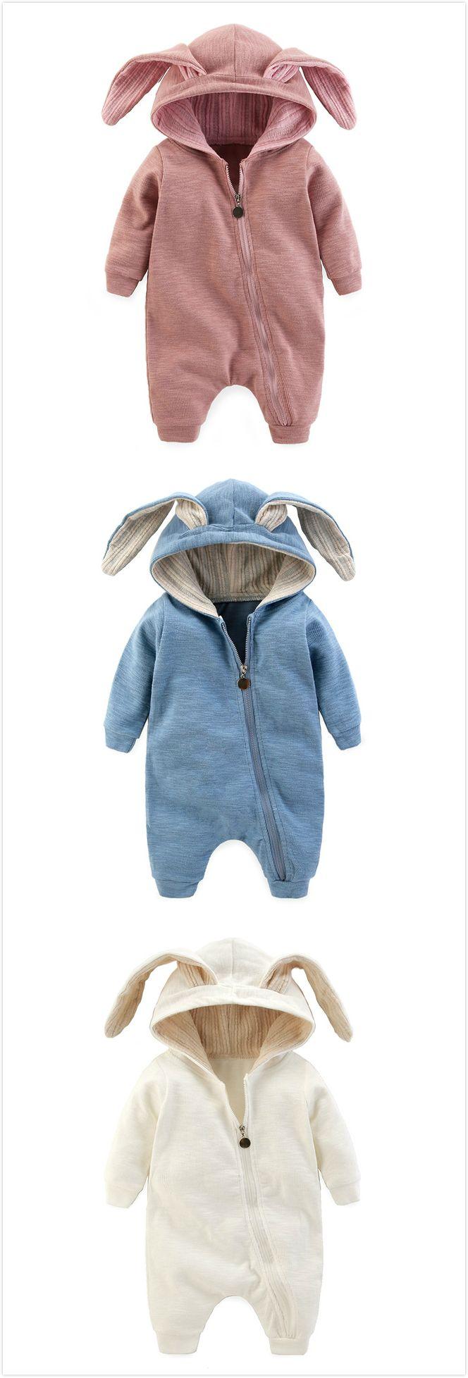 Unisex Baby boy girl jumpsuit  infant toddler hooded romper for autumn winter