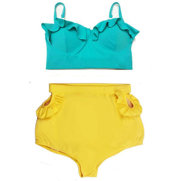 Mint Teal Midkini Top and Yellow Cut Out Cut-Out High Waisted Shorts... ($40) ❤ liked on Polyvore featuring swimwear, bikinis, silver, women's clothing, cut out swimsuit, high waisted swimsuit, retro bikini, high waisted bathing suits and retro bathing suits