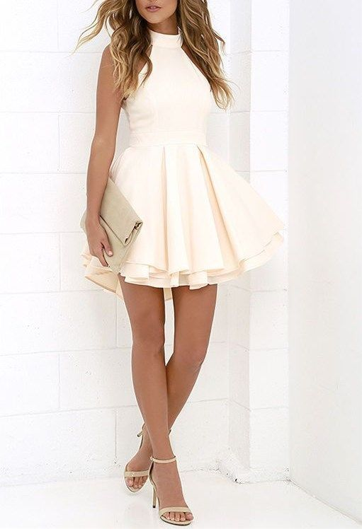 sexy halter white homecoming dress,simple backless Prom dress,short party dress - Thumbnail 1