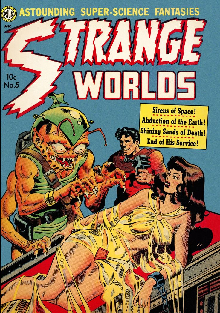 """publicdomainentertainment: """"  Strange Worlds 05, Vol. 1 No. 5, November 1951 Cover by Wally Wood from The Digital Comic Museum here """""""