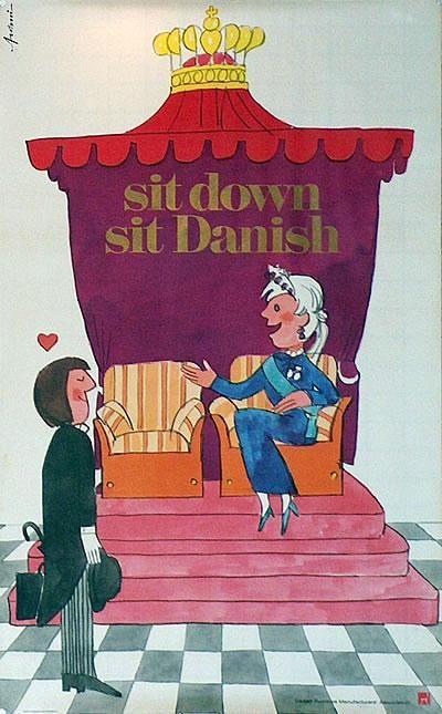 Poster: sit down - sit Danish Artist: Ib Antoni