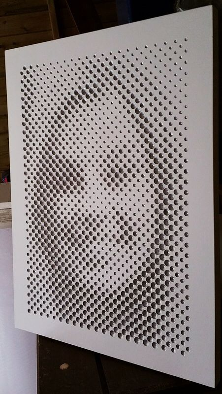 halftone, routered,photo,image,wood,mdf,dots,abstract,pixels, father's day, unusual, bespoke, pqpod@aol.com, pqpod, pod, dynamic image, UK, cookham, portrait, face, faces,