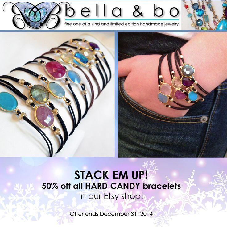 STACK EM UP! For a limited time, 50% OFF ALL HARD CANDY bracelets! Visit our Etsy Shop... https://www.etsy.com/shop/BellaAndBo?ref=hdr_shop_menu