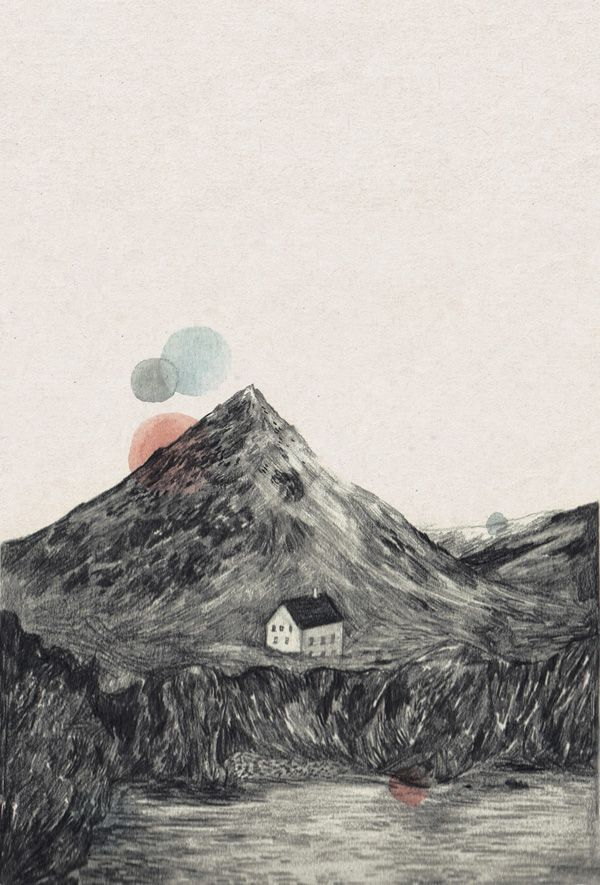 Love this.Screens Prints, Little House, Solitary House, Mountain Drawing, Mountain Prints, Small House, Work Proof, Lizzie Stewart, Mountain House
