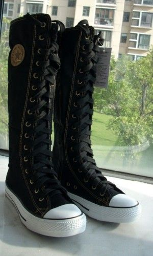 Women Black Punk EMO Rock boots shoe sneaker knee high | eBay take forever to do up tho