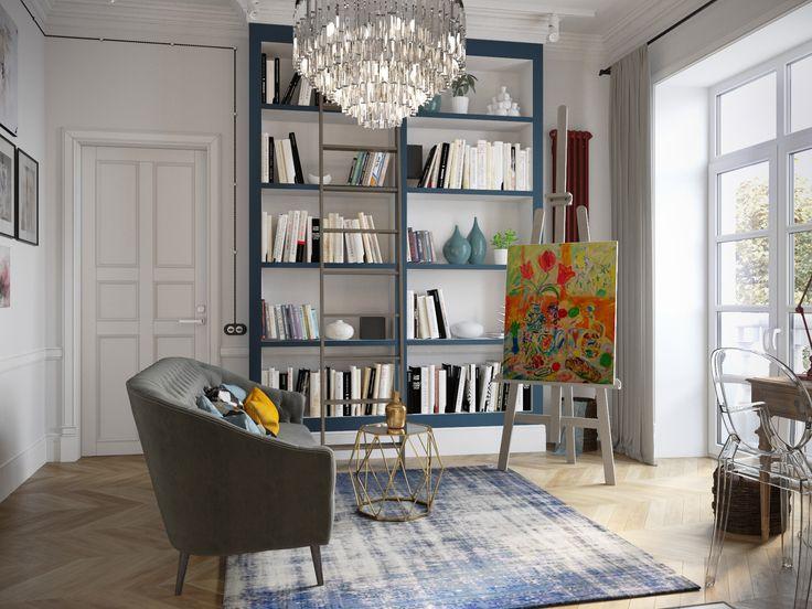 дизайн гостиной с книжным стеллажом