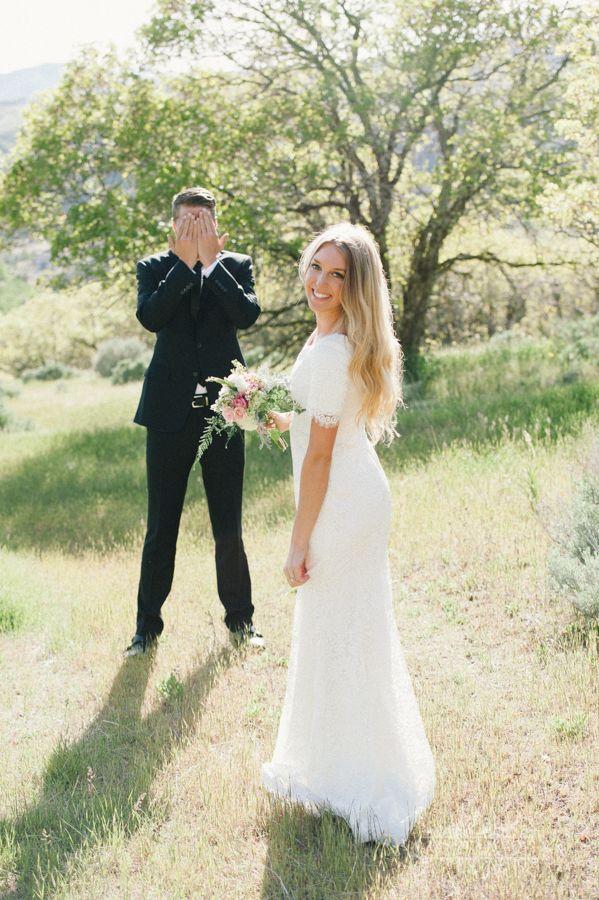 Real bride Caitlin  Modest wedding dress by Alta Moda Bridal  photo: Jessica White