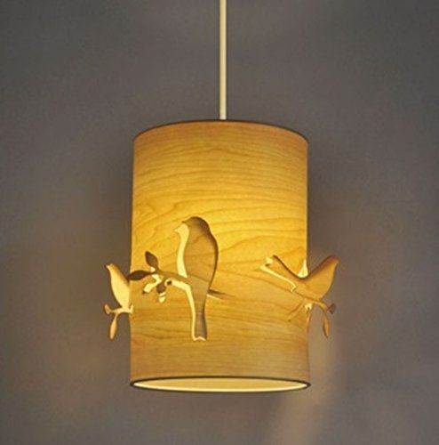 beautiful bird and branch cut out carved modern cylinder wood veneer ceiling pendant lamp shade