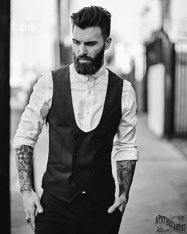 Gilbert just won't stop crushing it! // @levistocke for @apothecary87 wearing @nooseandmonkey . . . #photoshoot #model #blackandwhite #losangeles #california #style #fashion #pomade #themanclub #apothecary87 #beard #bearded #tattoos #inkedup
